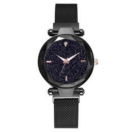 Ceas dama Geneva CS970, model Starry Sky, bratara magnetica, elegant, negru