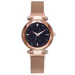 Ceas dama Geneva CS987, model Starry Sky, bratara magnetica, elegant, auriu
