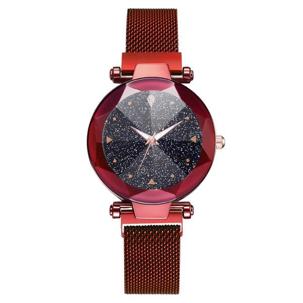 Ceas dama Geneva CS968, model Starry Sky, bratara magnetica, elegant, rosu