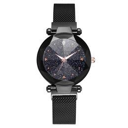 Ceas dama Geneva CS964, model Starry Sky, bratara magnetica, elegant, negru