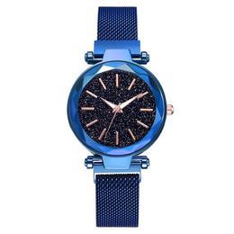 Ceas dama Geneva CS959, model Starry Sky, bratara magnetica, elegant, albastru