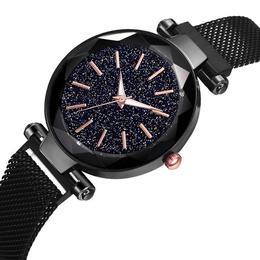 Ceas dama Geneva CS958, model Starry Sky, bratara magnetica, elegant, negru