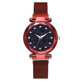 Ceas dama Geneva CS956, model Starry Sky, bratara magnetica, elegant, rosu