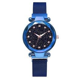 Ceas dama Geneva CS953, model Starry Sky, bratara magnetica, elegant, albastru