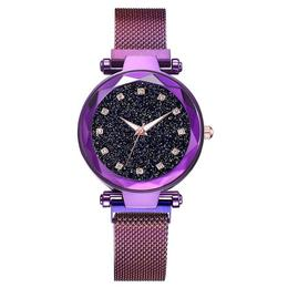 Ceas dama Geneva CS954, model Starry Sky, bratara magnetica, elegant, mov