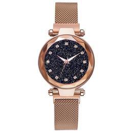 Ceas dama Geneva CS955, model Starry Sky, bratara magnetica, elegant, auriu