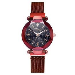Ceas dama Geneva CS950, model Starry Sky, bratara magnetica, elegant, rosu