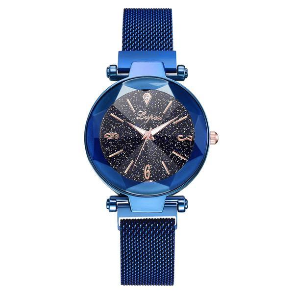 Ceas dama Geneva CS947, model Starry Sky, bratara magnetica, elegant, albastru