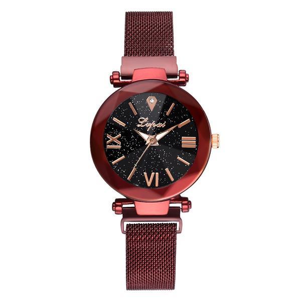 Ceas dama Geneva CS944, model Starry Sky, bratara magnetica, elegant, rosu