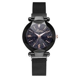 Ceas dama Geneva CS946, model Starry Sky, bratara magnetica, elegant, negru