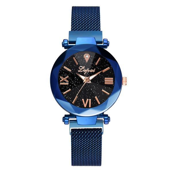Ceas dama Geneva CS941, model Starry Sky, bratara magnetica, elegant, albastru