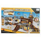 Set de joaca Garajul constructorilor cu doua utilaje si elicopter - Dino