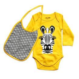 Set body galben Zebra si baveta - Coqenpate