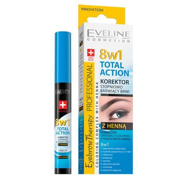 Corector sprancene cu hena Eveline Cosmetics, 8 in 1 Total Action cu colorare progresiva, 10 ml imagine produs