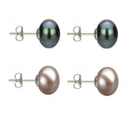 Set Cercei Argint cu Perle Naturale Negre si Lavanda de 10 mm - Cadouri si perle