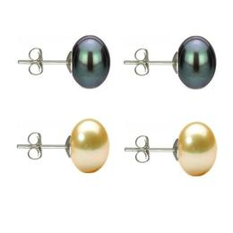 Set Cercei Argint cu Perle Naturale Negre si Crem de 10 mm - Cadouri si perle
