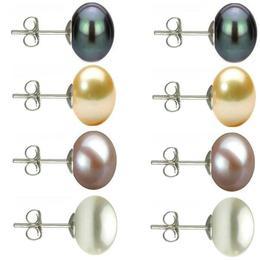 Set Cercei Argint cu Perle Naturale Negre, Crem, Lavanda si Albe de 10 mm - Cadouri si perle
