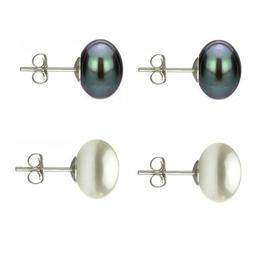 Set Cercei Argint cu Perle Naturale Negre si Albe de 10 mm - Cadouri si perle