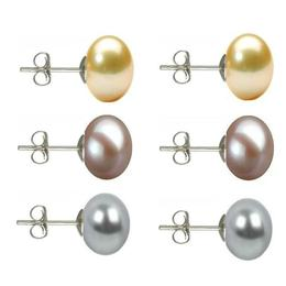 Set Cercei Argint cu Perle Naturale Crem, Lavanda si Gri de 10 mm - Cadouri si perle