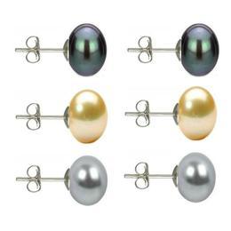 Set Cercei Argint cu Perle Naturale Negre, Crem si Gri de 10 mm - Cadouri si perle