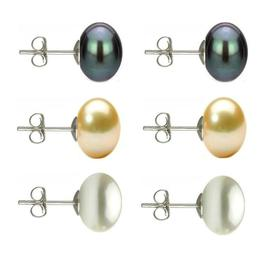Set Cercei Argint cu Perle Naturale Negre, Crem si Albe de 10 mm - Cadouri si perle