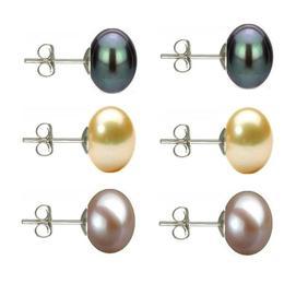 Set Cercei Argint cu Perle Naturale Negre, Crem si Lavanda de 10 mm - Cadouri si perle