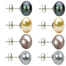 Set Cercei Argint cu Perle Naturale Negre, Crem, Lavanda si Gri de 10 mm - Cadouri si perle