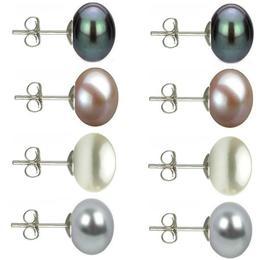 Set Cercei Argint cu Perle Naturale Negre, Lavanda, Albe si Gri de 10 mm - Cadouri si perle