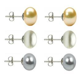 Set Cercei Argint cu Perle Naturale Crem, Albe si Gri de 10 mm - Cadouri si perle