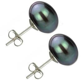 Cercei Argint cu Perle Naturale Buton, Negre, de 10 mm - Cadouri si perle