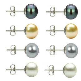 Set Cercei Argint cu Perle Naturale Negre, Crem, Gri si Albe de 7 mm - Cadouri si perle