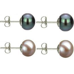 Set Cercei Argint cu Perle Naturale Negre si Lavanda de 7 mm - Cadouri si perle