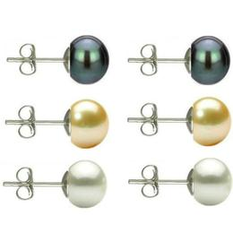 Set Cercei Argint cu Perle Naturale Negre, Crem si Albe de 7 mm - Cadouri si perle