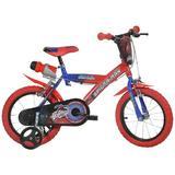 Bicicleta pentru baieti Dino Bikes 143G cu model Spiderman made in Italy de 14 inch cu suport bauturi si roti ajutatoare