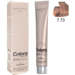 Vopsea Profesionala cu Extract de Goji - Maxxelle Colora Ultracolor Antiage Haircolor, nuanta 7.73 Hazelnut Blonde