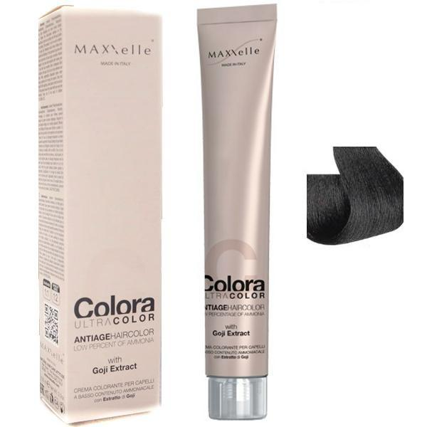 Vopsea Profesionala cu Extract de Goji - Maxxelle Colora Ultracolor Antiage Haircolor, nuanta 1.0 Black poza