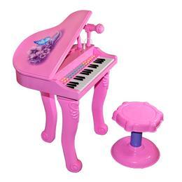 Pian roz cu 32 clape, microfon, scaun, lumini si melodii - Xiong Cheng