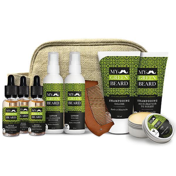 Set cadou - Trusa completa pentru barba si mustata, Trousse Complete Kit, (pieptan + sampon x2 150ml + lotiune x2 100ml + ulei x3 30ml ) My Green Beard