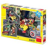 Puzzle 3 in 1 Cursa lui Mickey Mouse Dino Toys, 3 x 55 piese, 5-7 ani