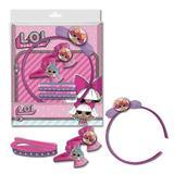 Set accesorii de par LOL 1 diadema , 2 agrafe, 4 elastice de par LOL surprise cu imaginea papusii LOL