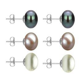 Set Cercei Aur Alb cu Perle Naturale Negre, Lavanda si Albe de 10 mm - Cadouri si Perle