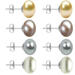 Set Cercei Aur Alb cu Perle Naturale Crem, Lavanda, Gri si Albe de 10 mm - Cadouri si Perle