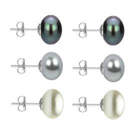 Set Cercei Aur Alb cu Perle Naturale Negre, Gri si Albe de 10 mm - Cadouri si Perle