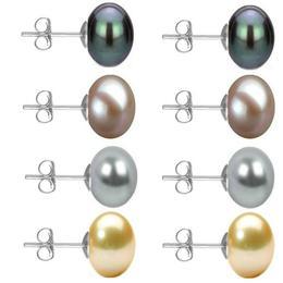 Set Cercei Aur Alb cu Perle Naturale Negre, Lavanda, Gri si Crem de 10 mm