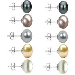 Set 5 Perechi Cercei Aur Alb cu Perle Naturale de 10 mm - Cadouri si Perle