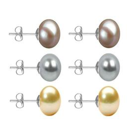 Set Cercei Aur Alb cu Perle Naturale Lavanda, Gri si Crem de 10 mm - Cadouri si Perle