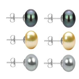 Set Cercei Aur Alb cu Perle Naturale Negre, Crem si Gri de 10 mm - Cadouri si Perle