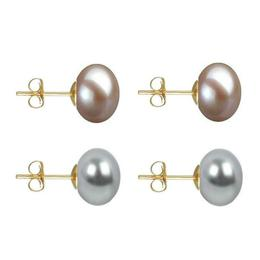 Set Cercei Aur cu Perle Naturale Lavanda si Gri de 10 mm - Cadouri si Perle