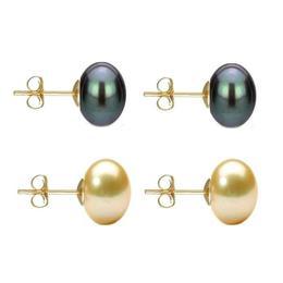 Set Cercei Aur cu Perle Naturale Negre si Crem de 10 mm - Cadouri si Perle