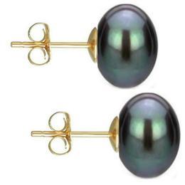 Set Cercei Aur cu Perle Naturale Negre si Gri de 10 mm - Cadouri si Perle